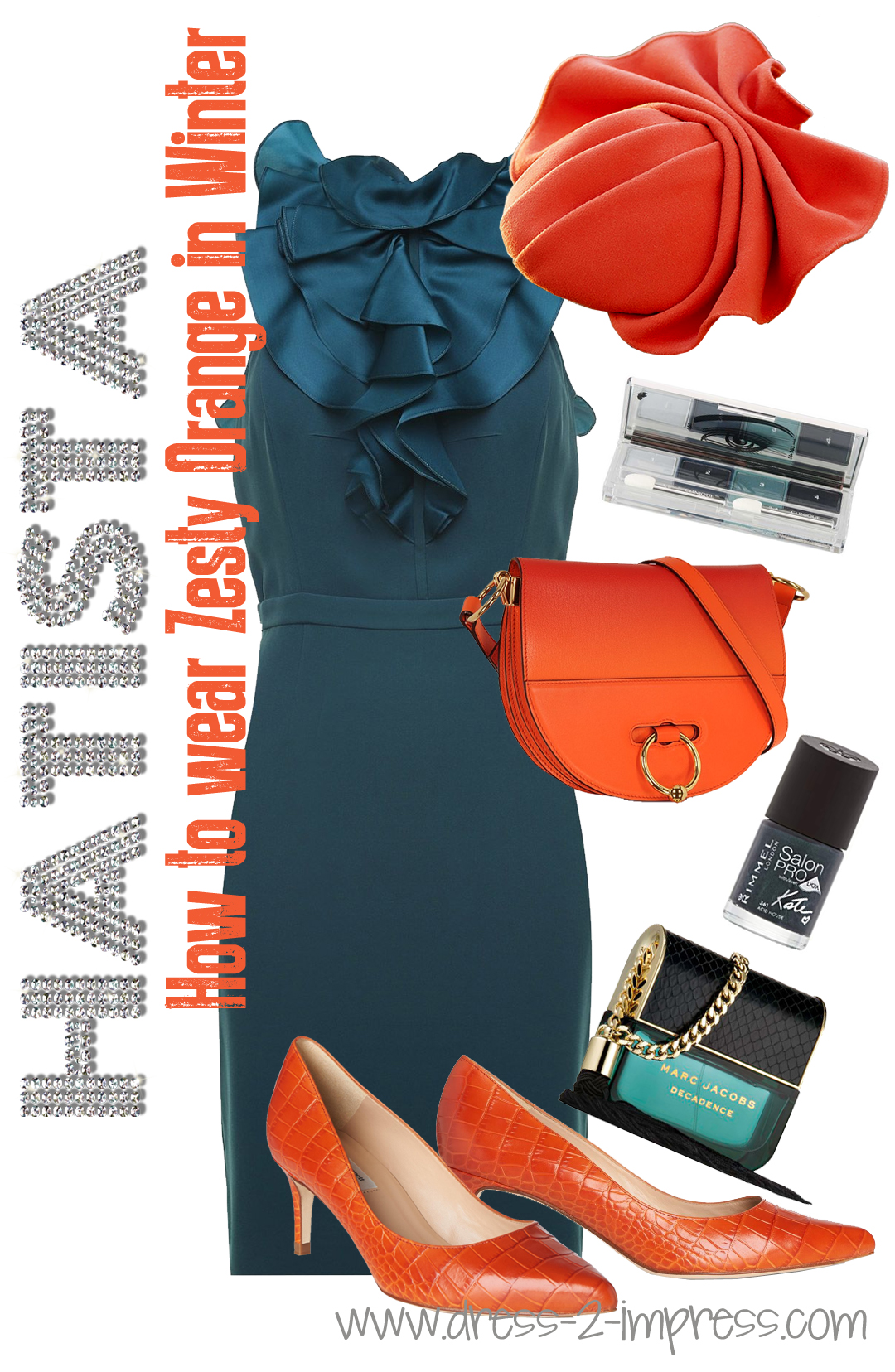 How to Wear Orange, What colours go with Orange. What colors to wear with Teal. Outfits with Teal. Winter wedding guest outfits. What to wear to a winter wedding from THE HATISTA www.dress-2-impress.com #outfitinspiration #outfitideas #wearorange #fashionideas