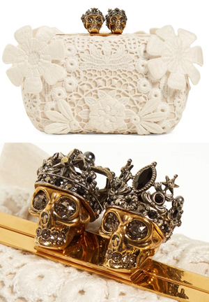 Alexander McQueen Bridal Clutch Bag with Crystal Skulls. On the Blog - Finding the Perfect Clutch Bag for Brides, Wedding Fashions, Mother of the Bride Outfits, from THE HATISTA www.dress-2-impress.com Fashion Ideas and Inspiration