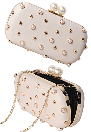 Champagne Gold and Pearl Clutch Bag, Mother of the Bride Outfit Fashion Ideas