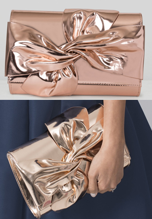 Chi Chi Big Bow Metallic Bronze Bag, Mother of the Bride Outfit Fashion Ideas