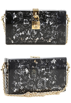 Dolce & Gabbana Black Lace Clutch Bag. Finding the Right Bag for Race Day outfits, Royal Ascot, Kentucky Derby Outfits, Racing and Wedding Fashions, Mother of the Bride Outfits, from THE HATISTA www.dress-2-impress.com Fashion Ideas and Inspiration