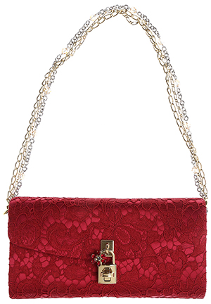 Dolce & Gabbana Red Lace Clutch Bag. Finding the Right Bag for Race Day outfits, Royal Ascot, Kentucky Derby Outfits, Racing and Wedding Fashions, Mother of the Bride Outfits, from THE HATISTA www.dress-2-impress.com Fashion Ideas and Inspiration