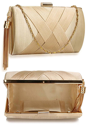 Gold Satin Clutch Bag, Mother of the Bride Outfit Fashion Ideas