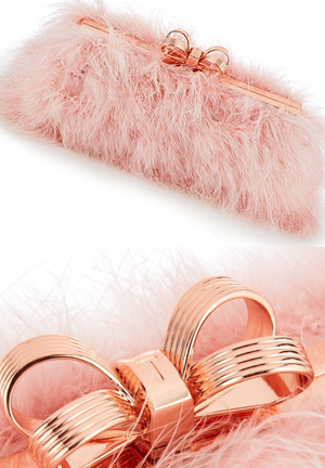 Ted Baker Fluffy Pink Clutch Bag, Mother of the Bride Outfits Inspiration. Fun Clutch Bags