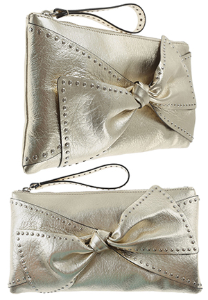Valentino Rockstud Gold Leather Clutch Bag. THE HATISTA www.dress-2-impress.com Fashion Ideas and Inspiration