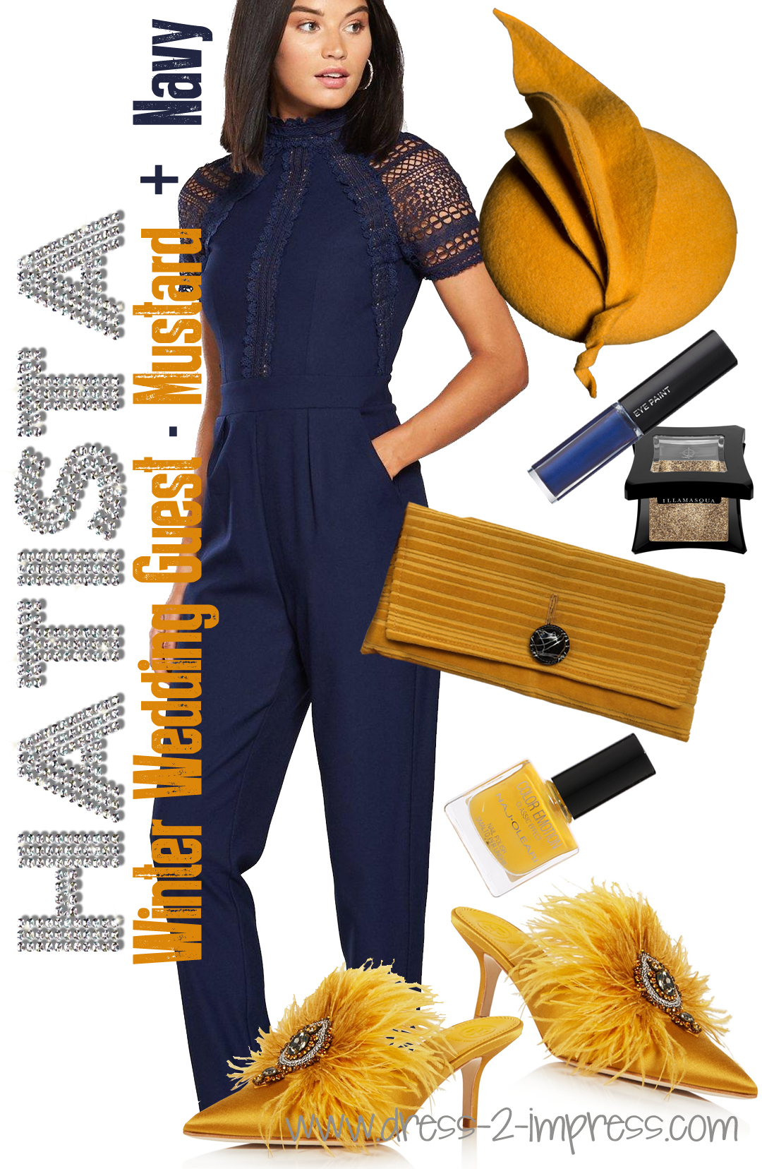 Navy and Mustard Yellow Outfits. What to wear to a Winter Wedding. Winter Wedding Guests and Mother of the Bride outfits. Read Outfit Ideas and Tips for Winter Weddings from THE HATISTA www.dress-2-impress.com on how to dress for a winter wedding #winterwedding #fashionista #outfits #styleguide #ootd #weddingcolours