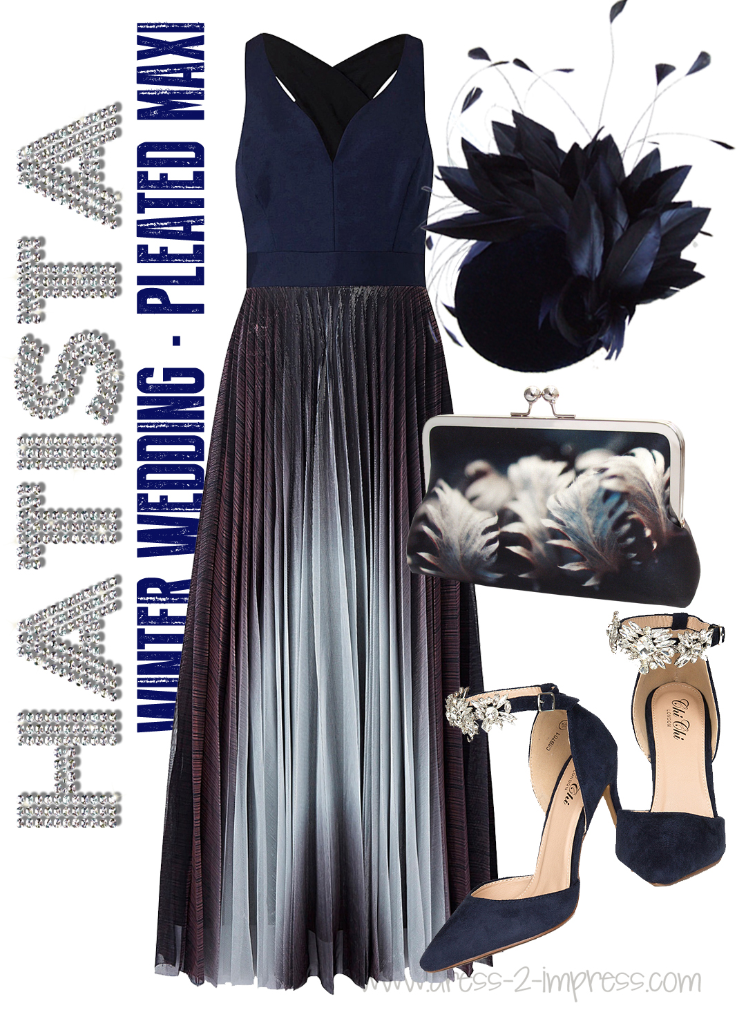 Winter Wedding Outfit Inspiration Pleated Maxi Dress Headpiece Shoes and Bag - What to wear to a winter wedding Outfit Ideas Inspiration Tips from THE HATISTA www.dress-2-impress.com #winterwedding #fashionista #wintercolours #styleguide #weddings #motherofthebride #weddingguest #outfits #outfitideas #ootd #outfits